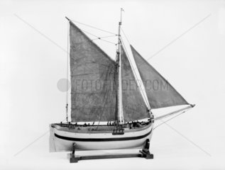 Rigged model of an English Hoy c 18th century.