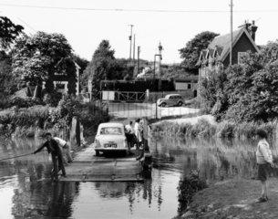 British Railways train passing Grove Ferry  Kent  1956.