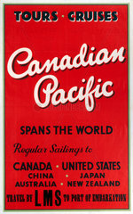 'Canadian Pacific - Spans the World'  LMS poster  c 1930s.