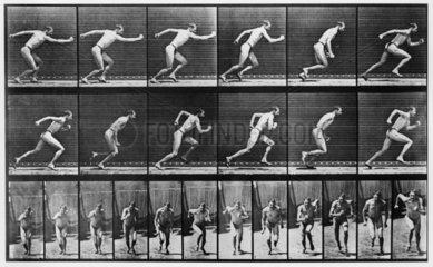 Near-naked man running  c 1870s.