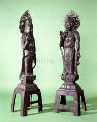 Two bronze statues of Guan Yin  Chinese  1000-1800.