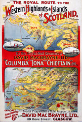 'The Royal Route to the Western Highlands'  SECR poster  1914.