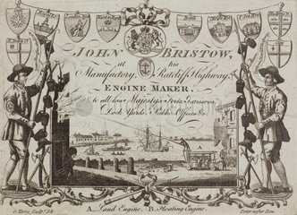 Trade card of John Bristow  engine maker  c 1754.