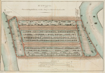 Mr S Wyatt's plan of the proposed docks at the Isle of Dogs  London  1796.