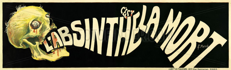 'L'Absinthe c'est la Mort'  1905.