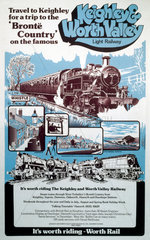 Keighley & Worth Valley Light Railway  poster  c 1970s.