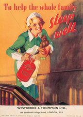 'Sleep well' hot water bottle  August 1938.