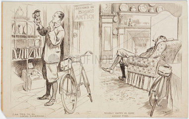 Cyclist shopping for antiques  1922.