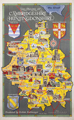 'The Counties of Cambridgeshire & Huntingdonshire'  BR poster  1948-1965.