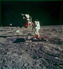 Apollo 11 astronaut Edwin 'Buzz' Aldrin on the Moon  1969.