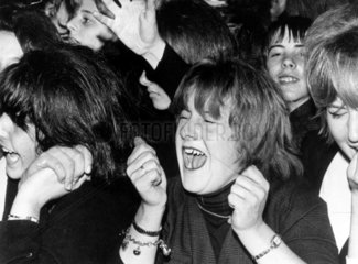 Fans screaming at a Beatles concert  Southport  Lancashire  1963.