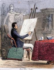 'Fine Arts - Sepia'  c 1845.