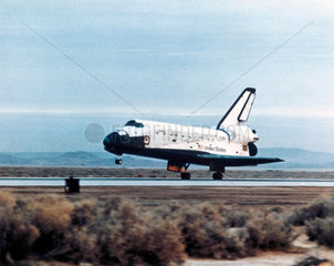 Space Shuttle Columbia landing  1980s.