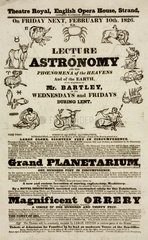 Lecture on astronomy by Mr Bartley  handbill  London  1826.