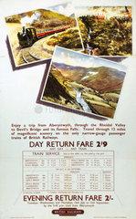 'Aberystwyth through the Rheidol Valley'  BR poster  1960.