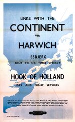 'Links with the Continent via Harwich'  BR poster  1953.