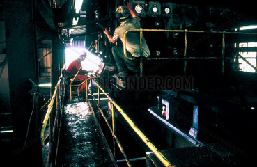 Merry-Go-Round filling coal hopper wagons at Shirebrook Colliery  1993.