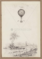 'Ballooning at Dulwich'  Greater London  1829.