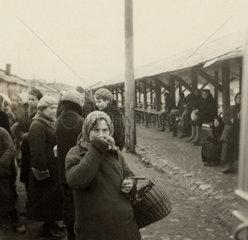 Russian women at a market  Second World War  1940s.