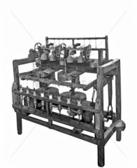 Arkwright's improved water frame spinning machine  1775