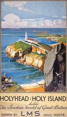 'Holyhead (Holy Island)'  LMS poster  1923-45.