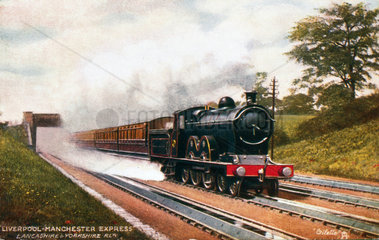The Liverpool to Manchester Express on Walkden Torughs  1900.