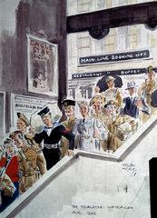 The Escalator  Waterloo Station  London  August 1940.