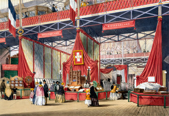 Swiss stand at the Great Exhibition  Crystal Palace  London  1851.