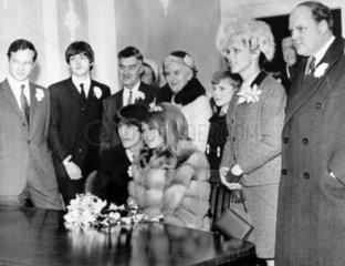 Beatle George Harrison marrying model Patti Boyd  21 January 1966.