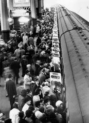 Rush hour at Waterloo station  London  31 January 1972.