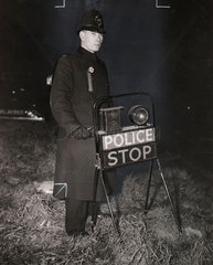 A police patrol looking for black marketeers  Britain  1948.