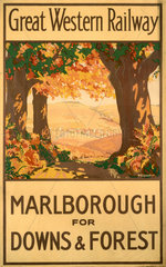 'Marlborough for Downs & Forest'  GWR poster  1927.