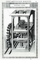 Corn mill driven by an undershot water wheel  1588.