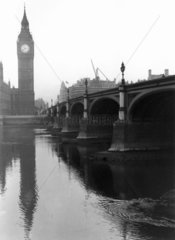 Westminster Bridge and the Houses of Parliament  London  c 1920s.