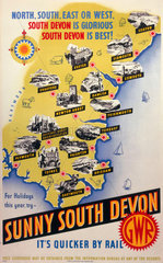 'Sunny South Devon'  GWR poster  1923-1947.