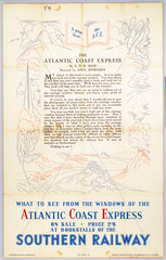 'A Page from the ACE - The Atlantic Coast Express'  SR poster  1923-1947.