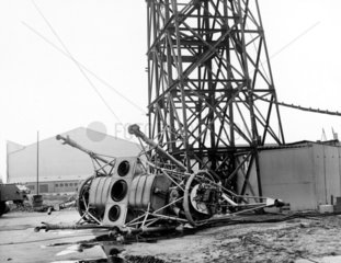'Flying Bedstead' after its accident  Hucknall  Nottinghamshire  1957.