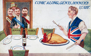 'Come Along  Gents  Dinner's Ready'  c 1914-1918.