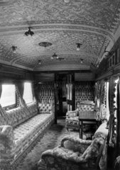 LSWR royal coach interior  built 1885  rebuilt 1897.
