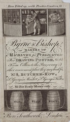 Trade card of Byrne & Bishop  manufacturers  early 19th century.