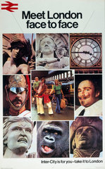 'Meet London face to face'  BR poster  c 1970s.