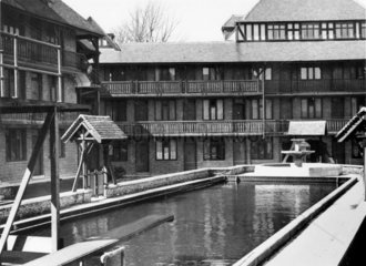 Flats and bathing pool  Tudor Court  Brixton Hill  London  9 May 1935.