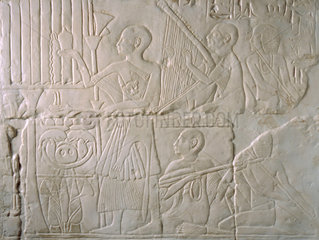Relief showing blind musicians  Egyptian  1579-1293 BC.