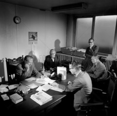 A provincial newspaper editorial conference  Bolton  1962.