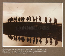 'Supports going up after battle...'  c 1917.