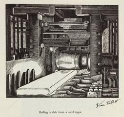 'Rolling a slab from a steel ingot'  20th century.