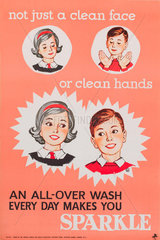 'Not just a clean face or clean hands'  public health poster  1950s