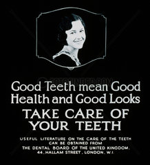 'Good Teeth mean Good Health and Good Looks'  poster  c 1930s.