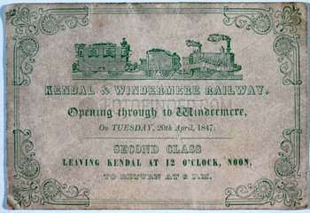 Second class rail ticket  1847.