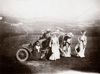 Edwardian ladies with the first 10 hp Rolls-Royce  1904.